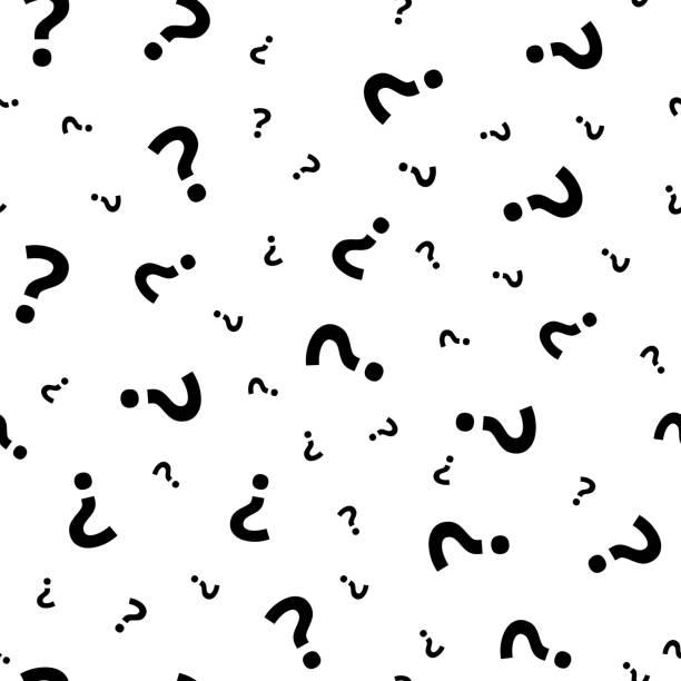 illustrazioni stock, clip art, cartoni animati e icone di tendenza di question mark grunge seamless pattern. query marks random vector repeat background - question mark