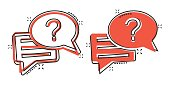 Question mark icon in comic style. Discussion speech bubble cartoon vector illustration on white isolated background. Faq splash effect business concept.