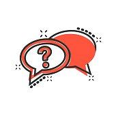 Question mark icon in comic style. Discussion speech bubble vector cartoon illustration pictogram. Question business concept splash effect.
