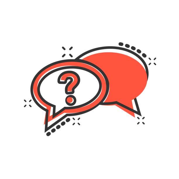 stockillustraties, clipart, cartoons en iconen met vraagteken icoon in de komische stijl. discussie toespraak bubble vector cartoon afbeelding pictogram. vraag business concept splash effect. - achterdocht