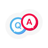 Question mark icon in flat 3D style. Discussion speech bubble pictogram. Vector illustration.