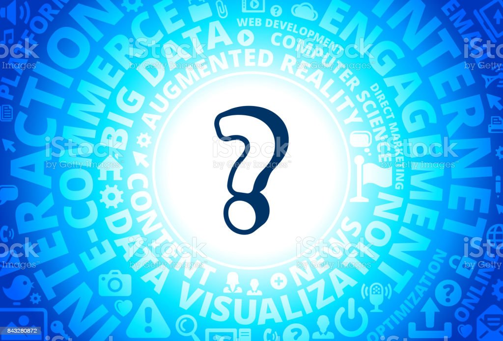 Question Mark Icon on Internet Modern Technology Words Background vector art illustration