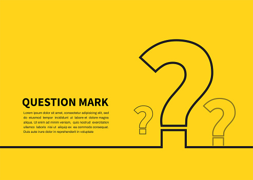 Question mark icon on yellow background. FAQ sign. Vector illustration