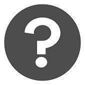 Question mark (FAQ) in black circle. Vector icon