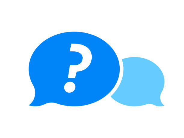 stockillustraties, clipart, cartoons en iconen met vraagteken in blauw dialoogvenster bubble, faq knop vector icon - question