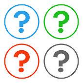 Question mark in circle. FAQ button. Vector icon