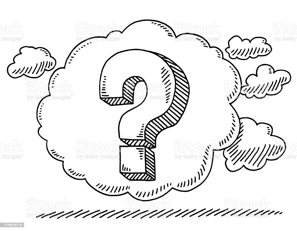 Question Mark In Thought Bubble Drawing vector art illustration