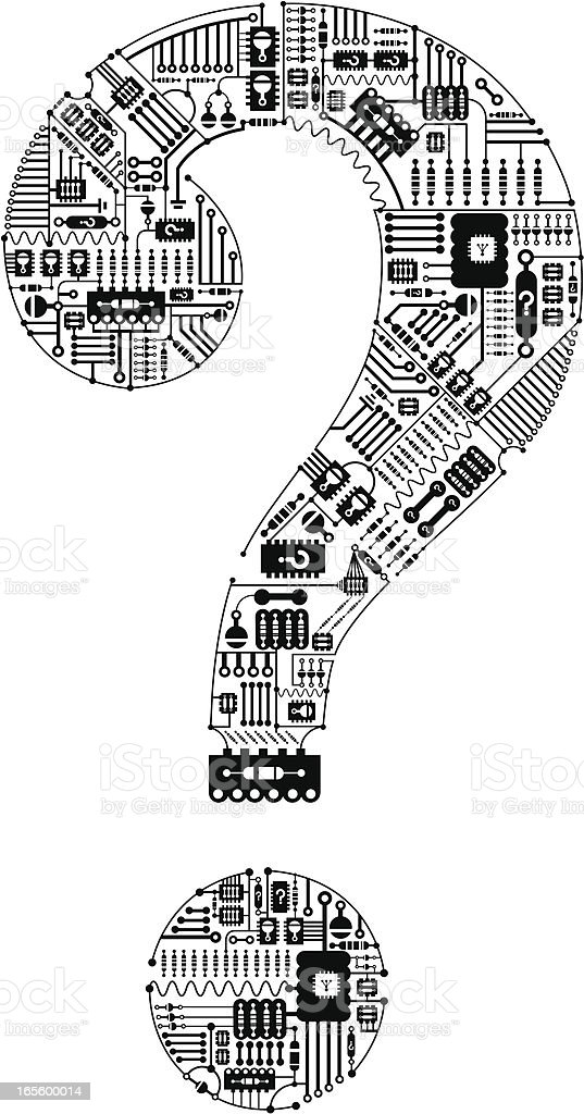 question mark made of circuit board schematics stock