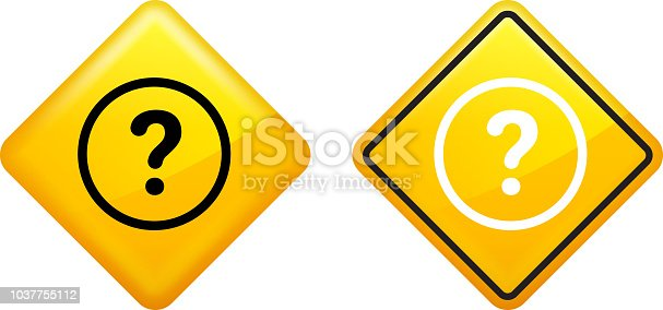 Question Mark Round Icon. The icon is black and is placed on a diamond yellow vector sticker. The button has a sight glow and the background is white. The composition is simple and elegant. The vector icon is the most prominent part if this illustration. The yellow and black contrast is a good representation for alert, warning and notice signs. The diamond shape is common for use in various warning signs. There is an alternate design with a white icon on the right of the illustration.
