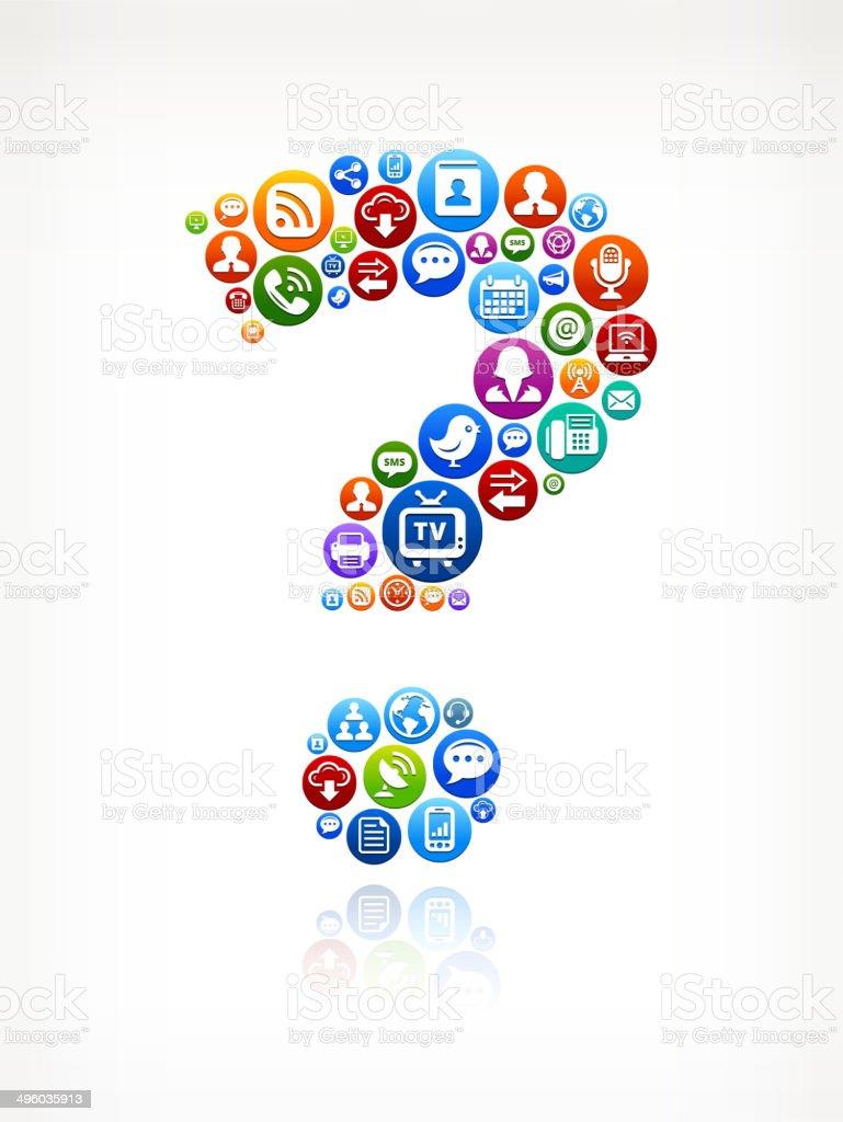 Fragezeichen Lizenzfreie Vektorsocial Network Und Interneticonset Stock  Vektor Art und mehr Bilder von Bloggen