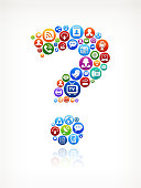 Question Mark Modern Technology and Internet Social Communications Icon Set. The royalty free vector icons are in black on simple white background. Social Networking, interface icon, Internet, Communication, Global Communications, Icon Set, Television Broadcasting, Computer Network, cloud computing, free download and business icons are part of this set.