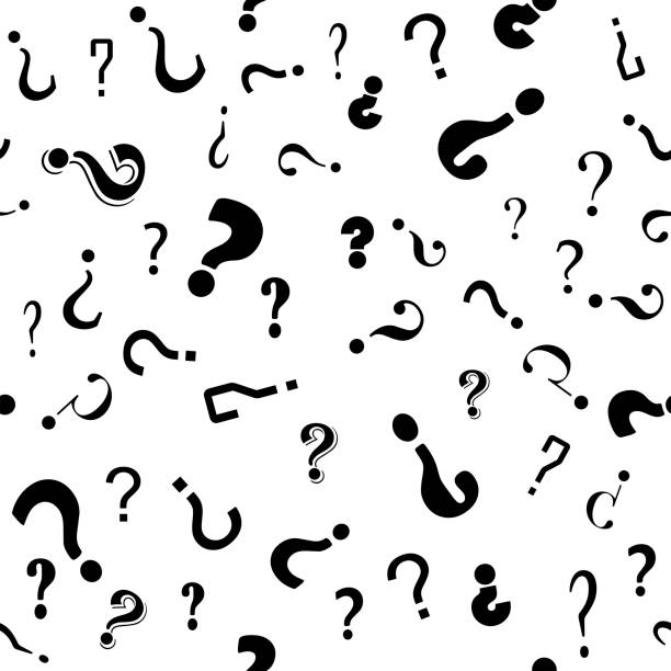 Question Mark Seamless Pattern on White Background. Simple Icon for Web Sites, Web Design, Mobile App, Info Graphics vector art illustration