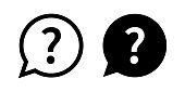 istock Question mark set of vector isolated icons. Help sign speech bubble. Chat question icon. Question concept. 1211406445