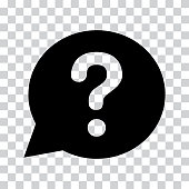 Question mark sign in black speech balloon. Help icon on a transparent background. Vector illustration