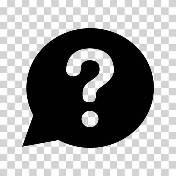 stockillustraties, clipart, cartoons en iconen met vraagteken melden zwarte speech ballon. help-pictogram op een transparante achtergrond. vectorillustratie - achterdocht