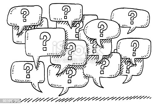 Hand-drawn vector drawing of a Group of Question Mark Speech Bubbles. Black-and-White sketch on a transparent background (.eps-file). Included files are EPS (v10) and Hi-Res JPG.