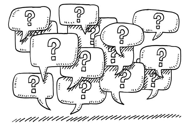Question Mark Speech Bubbles Drawing vector art illustration
