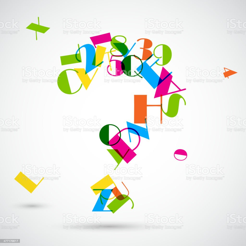 Question Mark with Colorful Alphabet royalty-free stock vector art