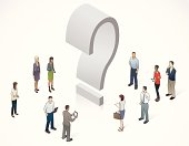 A diverse group of people surrounds a large, three-dimensional question mark.