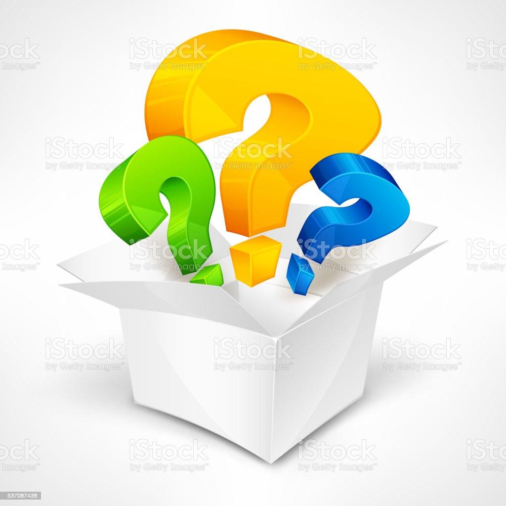 Question marks in box vector art illustration