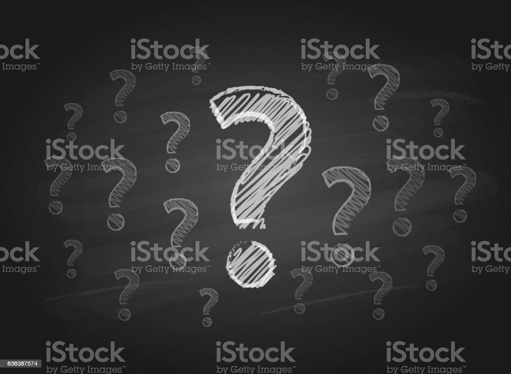 Question Marks on the Blackboard vector art illustration