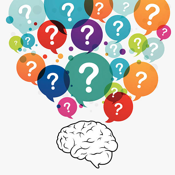 Questioning brain Questioning brain colourful question ballons. Eps10. Contains blending mode objects. dorsal surface stock illustrations