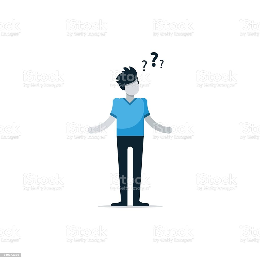 Questioning person, confused man, uncertainty concept, thinking on problem Flat design illustration Adult stock vector