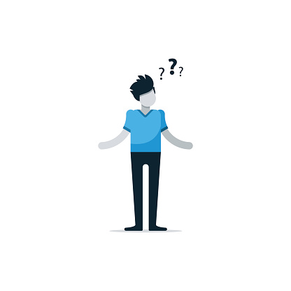 Questioning Person Confused Man Uncertainty Concept Thinking On Problem Stock Illustration - Download Image Now