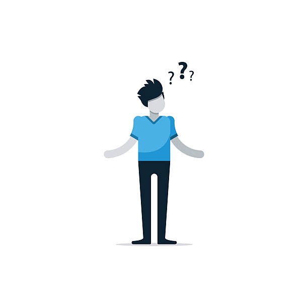 Questioning person, confused man, uncertainty concept, thinking on problem Flat design illustration careless stock illustrations