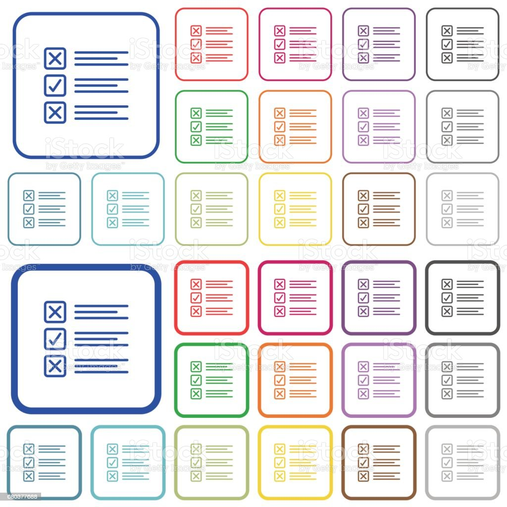 Questionnaire color outlined flat icons royalty-free questionnaire color outlined flat icons stock vector art & more images of analyzing