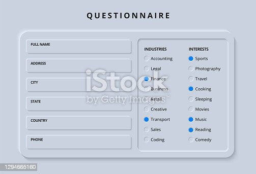 istock Questionnaire or Poll Survey Form with Checkbox and Data Entry User Interface for Mobile App or Website in Clean and Modern Dark Skeuomorphism and Neumorphism Graphic Style for Night Mode UI Template 1294665160