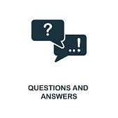 Questions And Answers creative icon. Simple element illustration. Questions And Answers concept symbol design from online education collection. Objects for mobile, web design, apps, software, print.