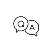Questions and answers icon with speech bubble and q and a letters. Vector minimal trendy thin line illustration for frequently asked questions concepts in websites, social networks, business pages