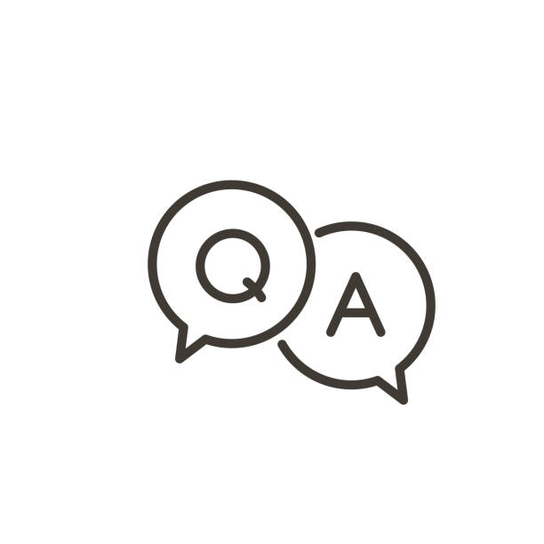 Questions and answers icon with speech bubble and q and a letters. Vector minimal trendy thin line illustration for frequently asked questions concepts in websites, social networks, business pages Vector eps10 alphabet icons stock illustrations