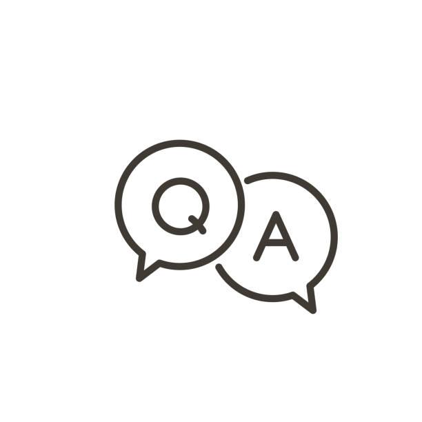 ilustraciones, imágenes clip art, dibujos animados e iconos de stock de icono de preguntas y respuestas con burbuja de voz y q y una letra. vector mínimo de moda de la ilustración de línea delgada para los conceptos de preguntas frecuentes en sitios web, redes sociales, páginas de negocios - faq