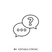 istock Questions and Answers Line Icon with Editable Stroke and Pixel Perfect. 1224443419