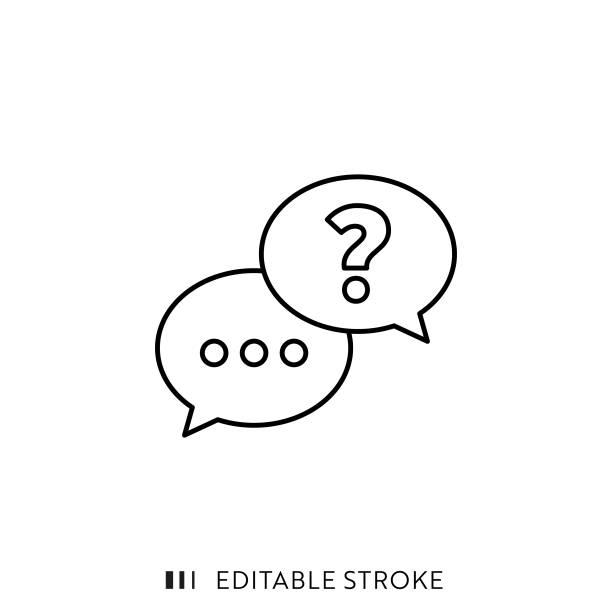 ilustraciones, imágenes clip art, dibujos animados e iconos de stock de icono de línea de preguntas y respuestas con trazo editable y píxel perfecto. - faq