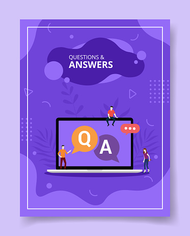 questions and answers people standing sitting on laptop Q and A text on display for template of banners, flyer, books cover, magazines with liquid shape style
