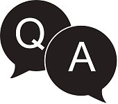 questions & answers speech bubbles flat icon on white background. Q&A sign.