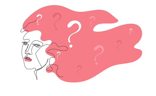Questions in the female head. Female thoughts. Solution. Doubts.