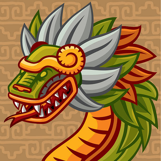 Quetzalcóatl (mexican Feathered Snake God) vector art illustration