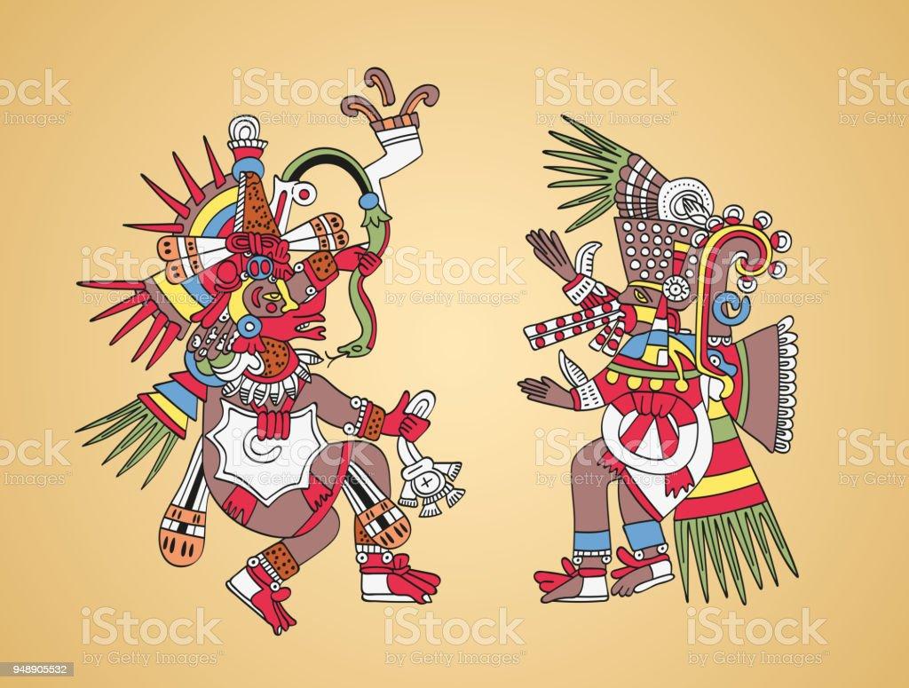 Ilustración De Quetzalcóatl Y Tezcatlipoca Dioses Aztecas Y Hermanos