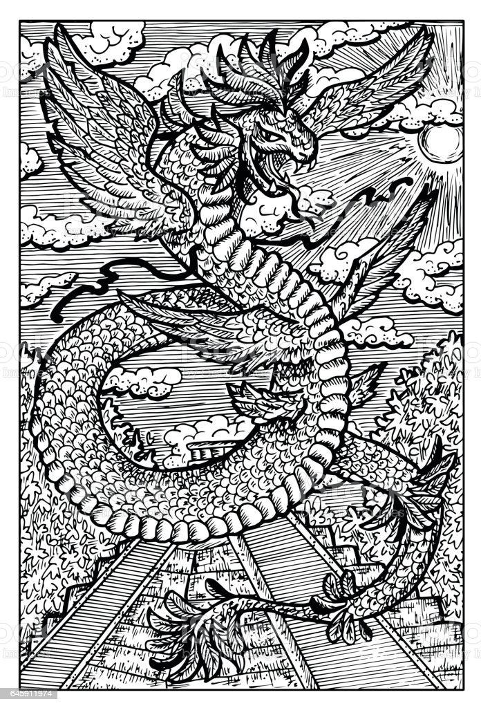 quetzalcoatl feathered serpent aztec god stock vector art more images of adventure 645911974. Black Bedroom Furniture Sets. Home Design Ideas