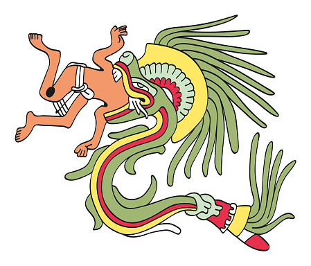 Quetzalcoatl in feathered serpent form, eating a man