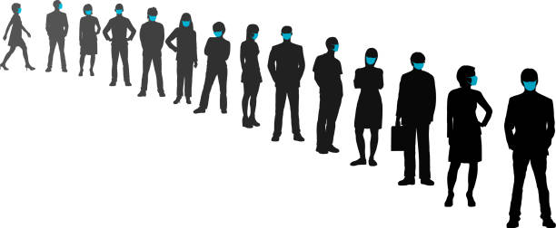 Queue and Social Distancing vector art illustration
