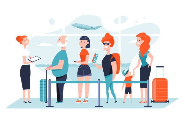Queue at the airport. Group of people is waiting in long line for check in registration boarding on airplane in terminal lounge. Vector flat passenger character isolated on white background. Queue at the airport vector cartoon illustration. airport clipart stock illustrations