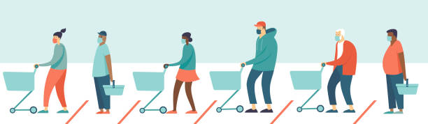 Queue in supermarket store. People with grocery carts  wearing protective medical masks keeping safe distance. Quarantine coronavirus COVID-19 2019-nCoV in the store social distancing epidemic precautions. vector art illustration