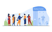 Queue of customers standing for sale at boutique window. People waiting for outlet opening at shop entrance. Vector illustration for fashion store, consumerism, special offer event concept