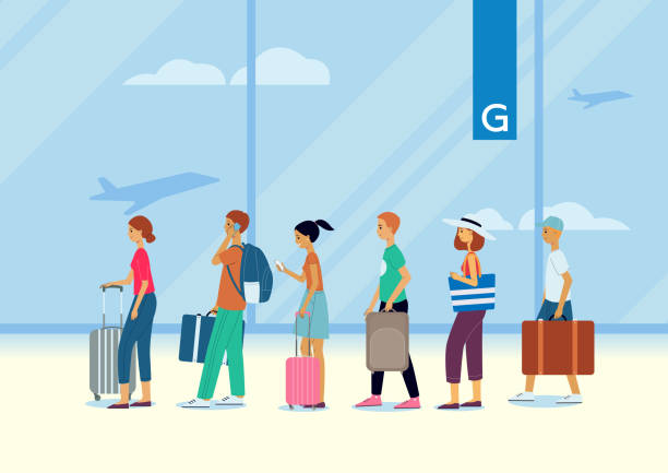 A queue of people, traveling passengers and tourists at the airport. vector art illustration