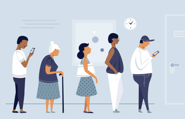 Queue of people. Queue of people, group of men and women waiting for, flat character design, vector illustration. waiting stock illustrations